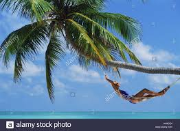 Woman relaxing in hammock under palm tree Stock Royalty