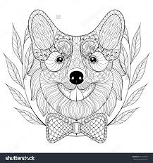 Corgi Coloring Pages Zentangle Welsh With Bow Tie In Wreath Doodle Style Hand Drawing
