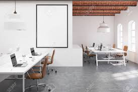 100 Brick Ceiling Open Space Office Interior With White Walls A Concrete Floor