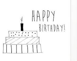 Happy Birthday card happy gretting card printable happy birthday art print black and white printable card