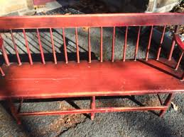 red painted wooden deacons bench attainable vintage