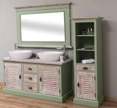 casa padrino landhausstil badezimmer set grün naturfarben 1 doppelwaschtisch 1 wandspiegel 1 regalschrank massivholz badezimmer möbel im