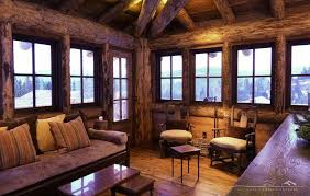 Rustic Log Cabins Living Room With Interior
