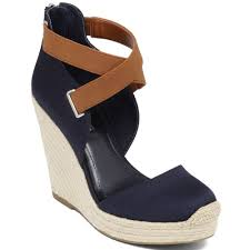 bcbgeneration glenda platform wedge sandals in blue lyst