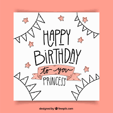 Birthday greeting card with drawings and stars Free Vector