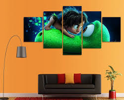 Hd Printed Cartoon Canvas Painting Cute Dinosaur Wall Art Intended For Current