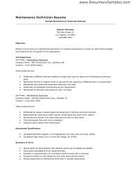 Resume Examples Maintenance