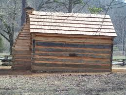 Rear Of Newly Restored Log Cabin At Abraham Lincoln Boyhood Home Knob Creek Download 37 MB