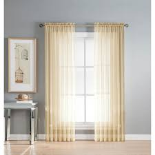Blue Crushed Voile Curtains by Window Elements Sheer Solid Voile Extra Wide Beige Sheer Rod