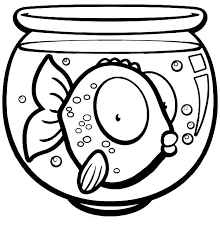 Fish Bowl Big Eyed In Coloring Page