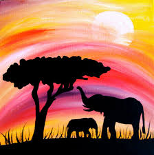 Elephant Silhouette In Sunset Mama And Baby 10 X Wrapped Canvas Painting Africa Safari
