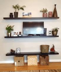 smooth gray textured wall paint fancy wall mounted wooden shelf