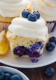 My Favorite Lemon Blueberry Cupcakes Topped With Homemade Cream Cheese Frosting And Fresh Blueberries