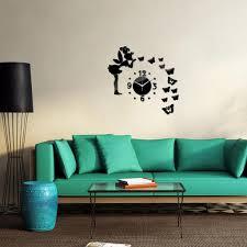 wand uhr wohnzimmer wanduhr wandtattoo aufkleber deko 3d design schwarz wie beschrieben