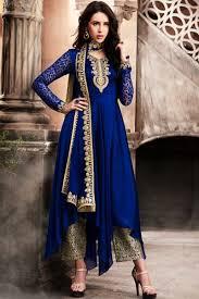 Navy Blue Attractive Designer Wear Silk Georgette Fabrics Embroidery Work Party Celebrity Bride Style Wedding