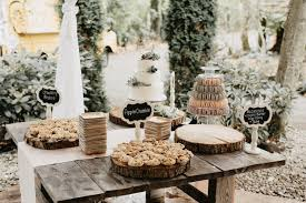 Pastel And Wood Accents For Dessert Table At A Wedding