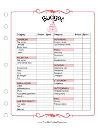 Wedding Budget Planner Printable