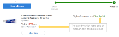 For items sold by Walmart the date on or before which an item is eligible for return can be seen by logging into your account