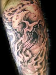 Flame Skull And Smoke Tattoos