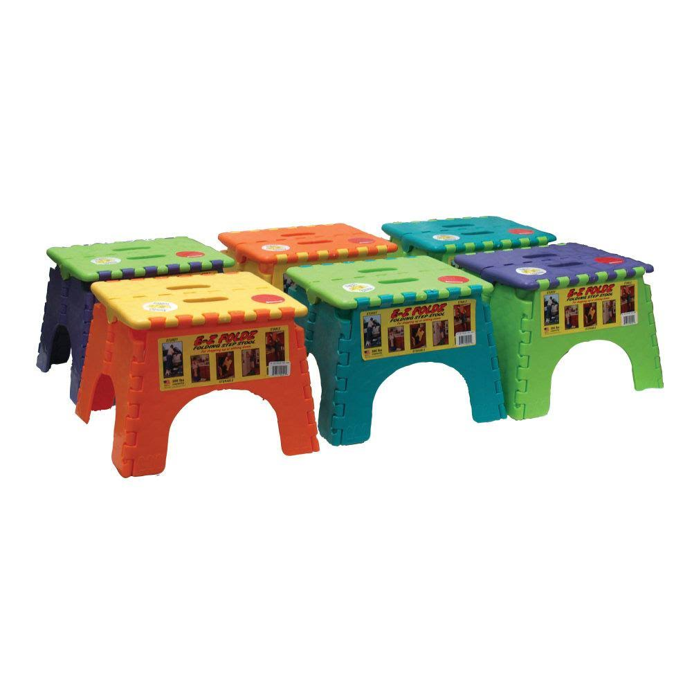B and R Plastics EZ Foldz Step Stool - Assorted Colors, 6'