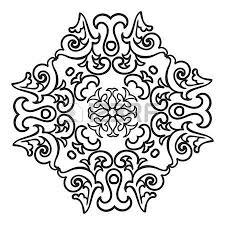 Hand Drawing Zentangle Element Italian Majolica Style Black And White Flower Mandala Vector