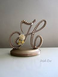 Wedding Cake Topper Made To Order In Champagne Pearl Letter H Rustic Weddings