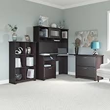 amazon com cabot l shaped desk with hutch in espresso oak