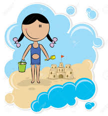 Cheerful Girl Make The Sand Castle On Beach Stock Vector