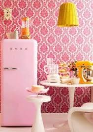 Yellow And Pink Kitchen In Retro Style With Fridge