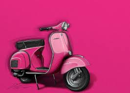Vespa Greeting Card Featuring The Digital Art Pink By Etienne Carignan