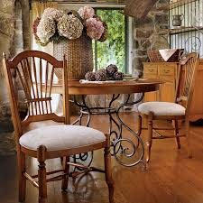 46 small brittany dining table with wrought iron base ethan allen