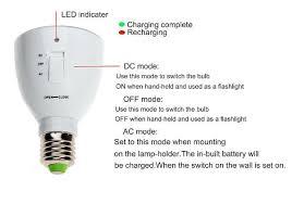 led rechargeable emergency bulb 2 in 1 light flashlight e27