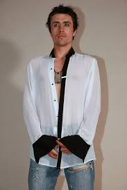 Mens White Silk Dress Shirt With Black Collar And Cuff Hi Tek