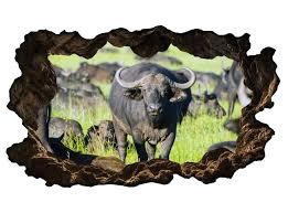 3d wandtattoo afrika tiere bison kuh wandbild wandsticker selbstklebend wandmotiv wohnzimmer wand aufkleber 11e556