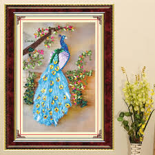 DIY Ribbon Embroidery Peacock Decorative Paintings Needlework Kits Cross Stitch Crafts Wall Art Living Room Decoration