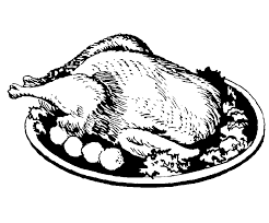 Cooked turkey cooked chicken clipart black and white turkey
