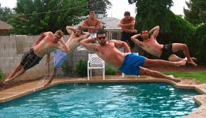 People Funny Jumping In Swimming Pool