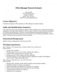 Professional Resume Objective For Office Manager Examples