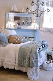 Coastal Bedroom Ideas With Chandelier And Mirror Metal Bed Ruffle Bedding Decor