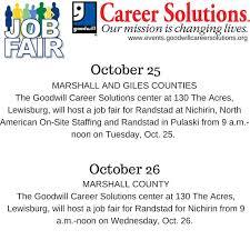 Job Fairs Oct 25 26 lewisburgtn