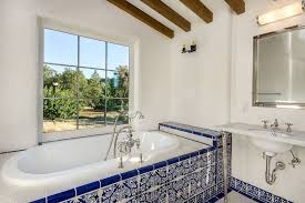 mexican tile bathroom mediterranean with marble counter