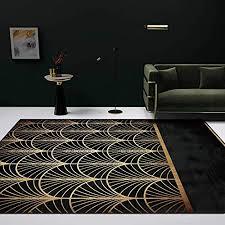 teppich modern wohnzimmer schlafzimmer esszimmer designer teppiche luxus geometrische fan print schwarz gold groß anti rutsch area rug home