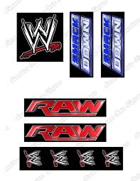 Wwe Raw Cake Decorations by Wwe Wrestling Logo U0027s Cake Toppers Edible Icing Amazon Co Uk