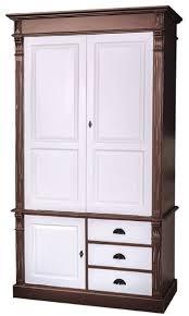 casa padrino landhausstil kleiderschrank antik braun weiß 120 x 59 x h 210 cm massivholz schlafzimmerschrank mit 3 türen und 3 schubladen