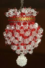 Chandelier Tea Ball Beaded Xmas Tree Ornament Teaball Red Clear Plastic Handmade
