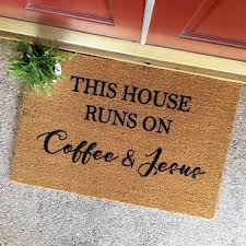 The Coffee And Jesus Doormat Cute By TheCHEEKYdoormat