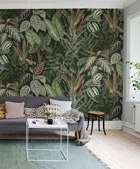 mischievous monkeys lush tapete grün tapeten wohnzimmer