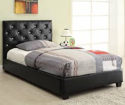 Black Leather Headboard With Crystals by Black Tufted Bed Ideas Laluz Nyc Home Design