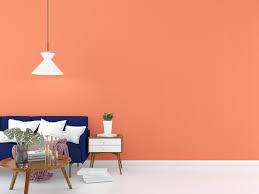 pfirsich wohnzimmer mit blauem sofa 3d rendern 1343550 stock