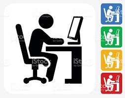icone bureau icône de travail au bureau à la conception graphique cliparts